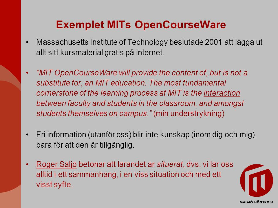 Exemplet MITs OpenCourseWare