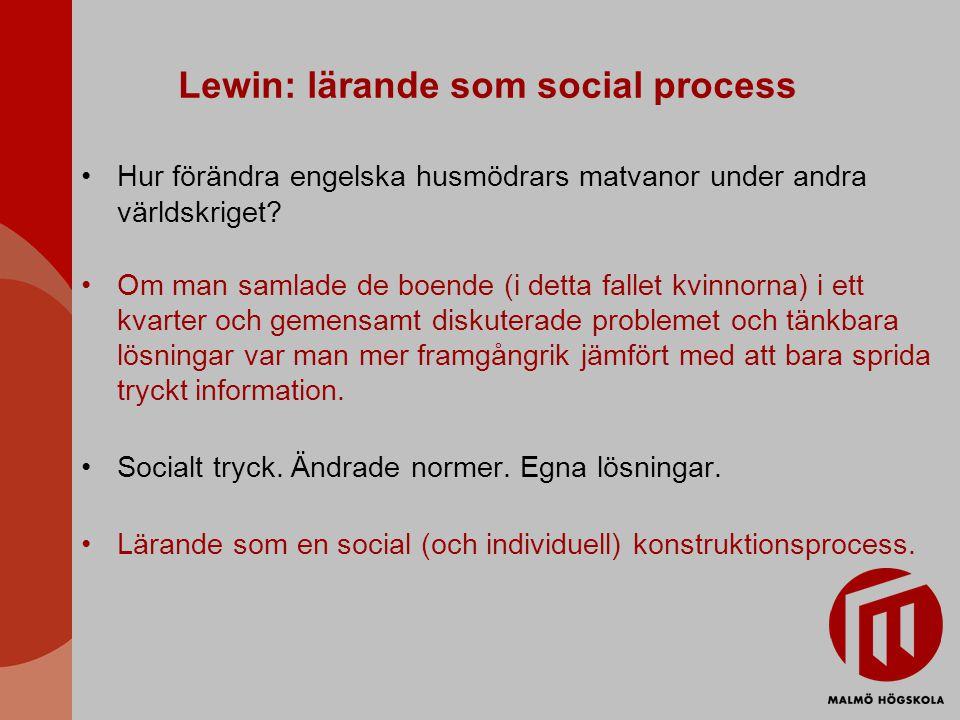 Lewin: lärande som social process