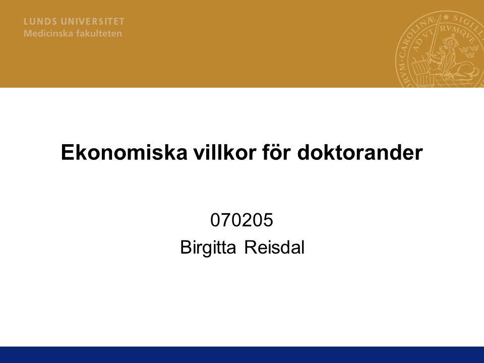 Ekonomiska villkor för doktorander