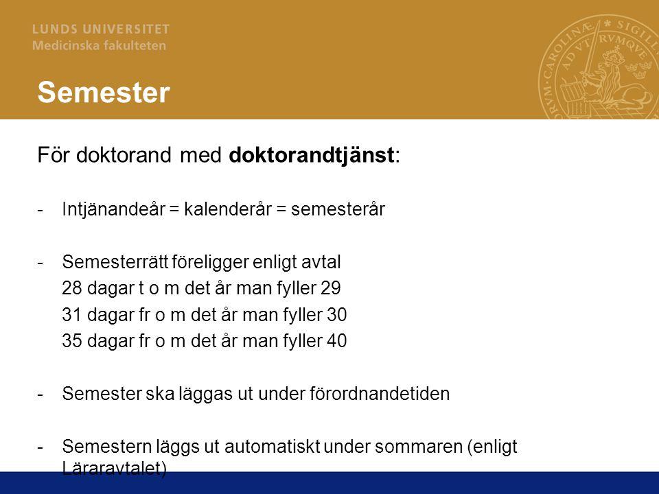 Semester För doktorand med doktorandtjänst:
