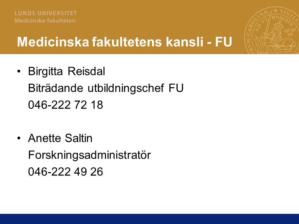 Medicinska fakultetens kansli - FU
