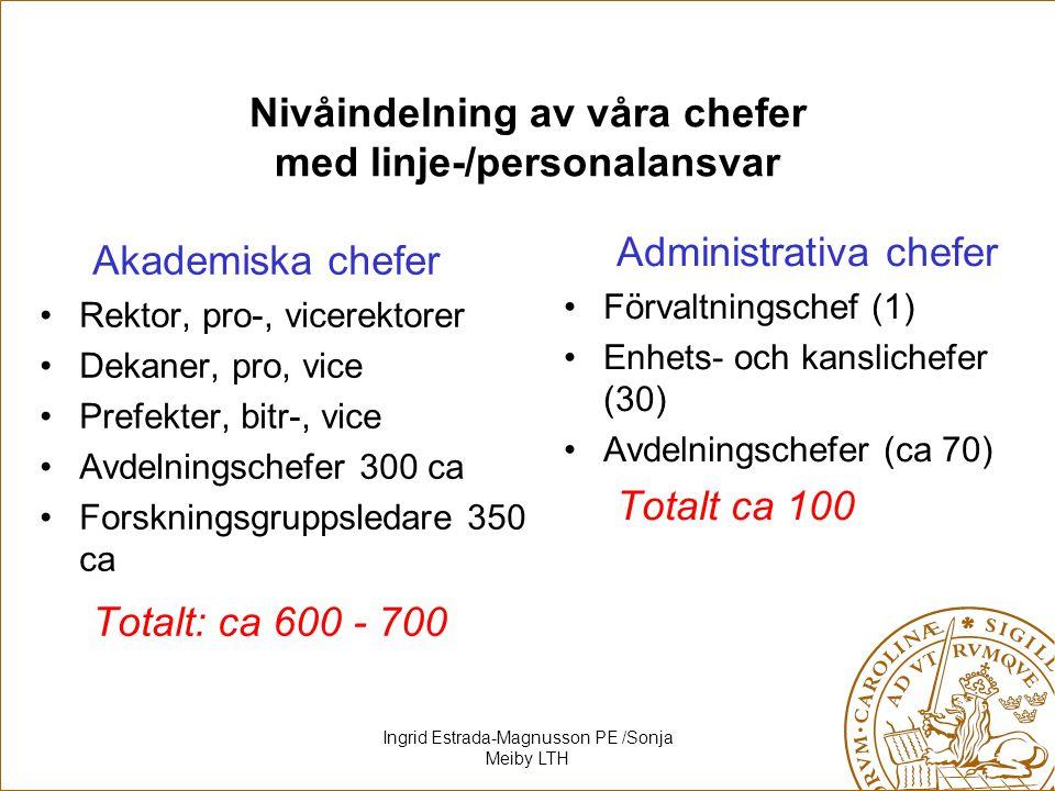 Nivåindelning av våra chefer med linje-/personalansvar
