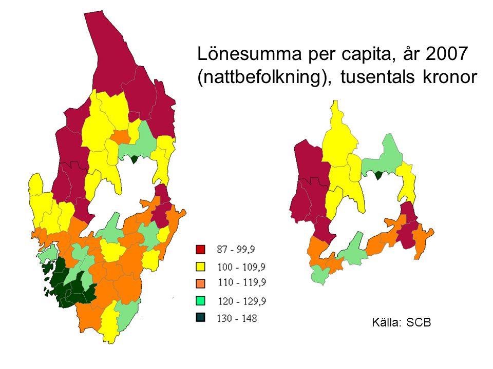 Lönesumma per capita, år 2007 (nattbefolkning), tusentals kronor
