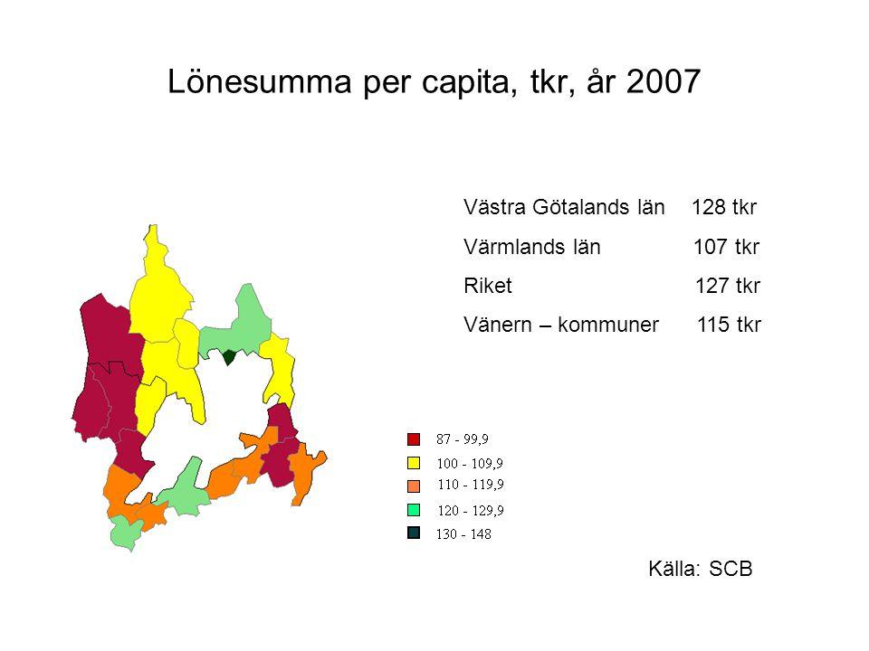 Lönesumma per capita, tkr, år 2007
