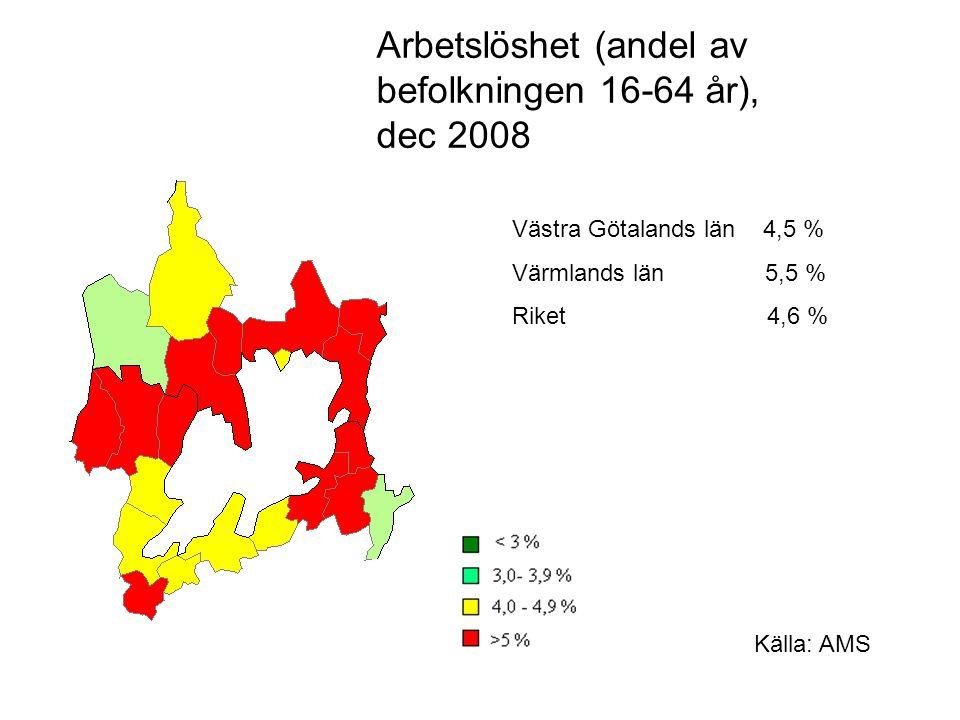 Arbetslöshet (andel av befolkningen 16-64 år), dec 2008