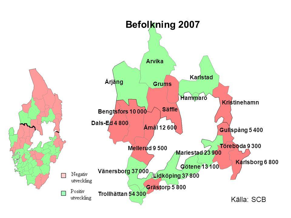 Befolkning 2007 Källa: SCB Arvika Karlstad Årjäng Grums Hammarö