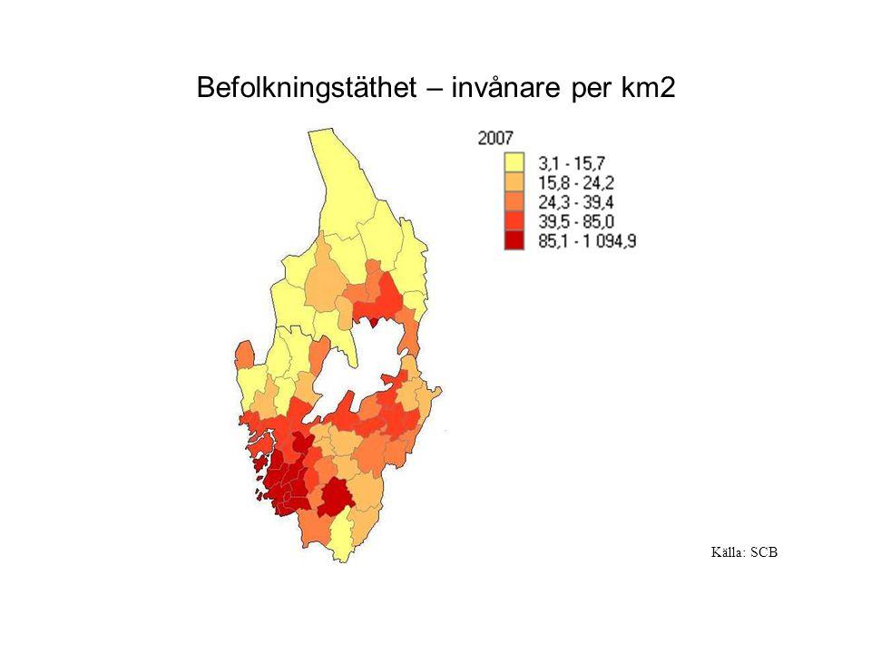 Befolkningstäthet – invånare per km2