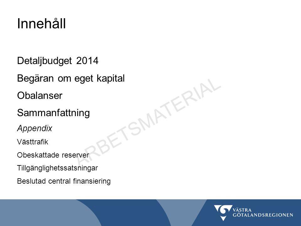 Innehåll Detaljbudget 2014 Begäran om eget kapital Obalanser