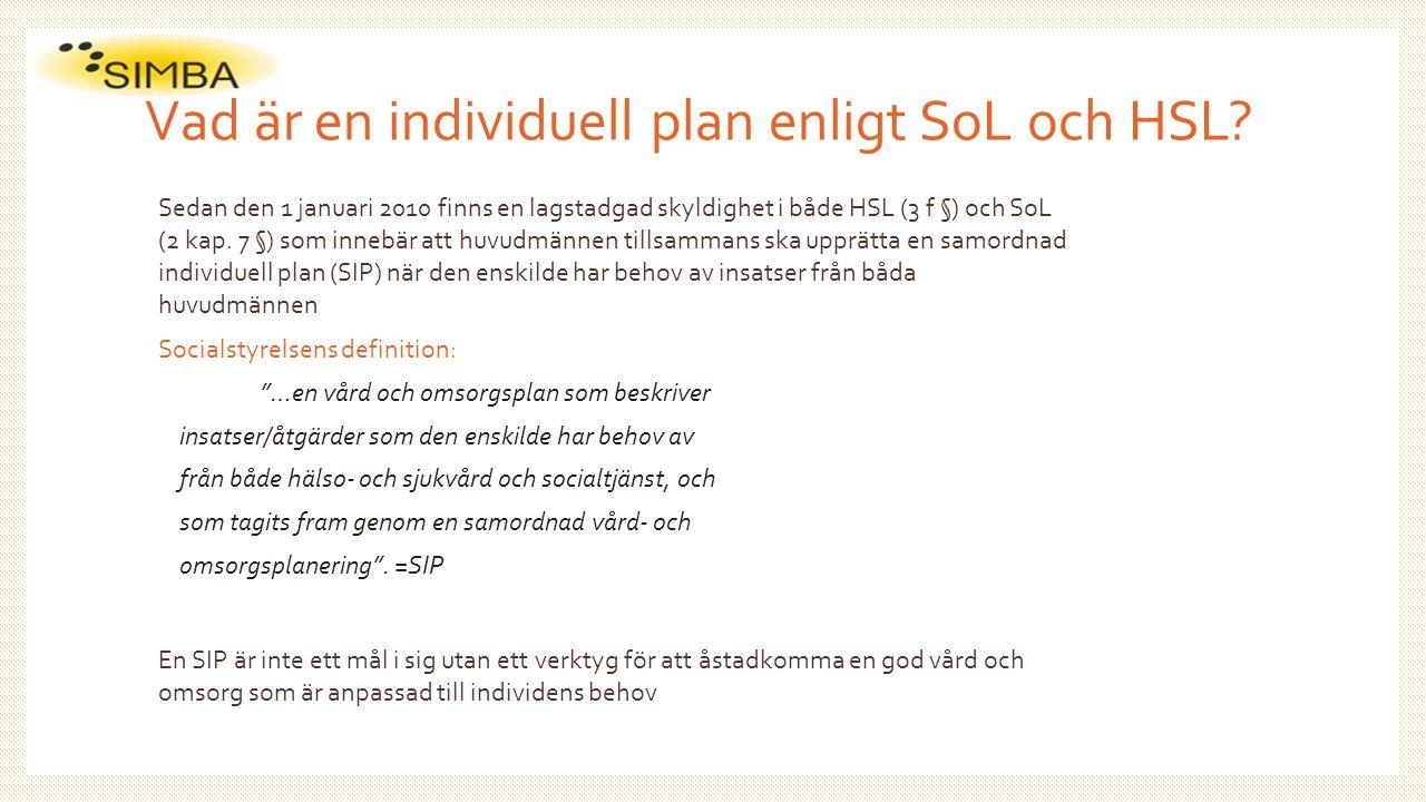 Vad är en individuell plan enligt SoL och HSL