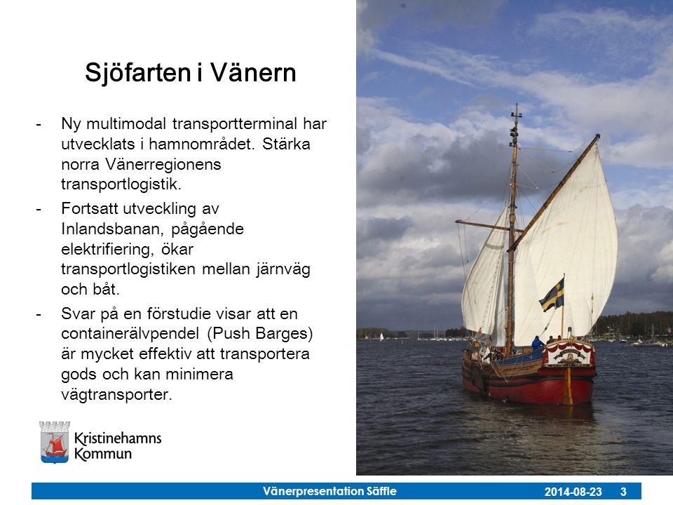 Sjöfarten i Vänern Ny multimodal transportterminal har utvecklats i hamnområdet. Stärka norra Vänerregionens transportlogistik.