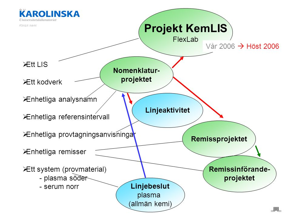 Projekt KemLIS FlexLab Vår 2006  Höst 2006 Ett LIS Nomenklatur-