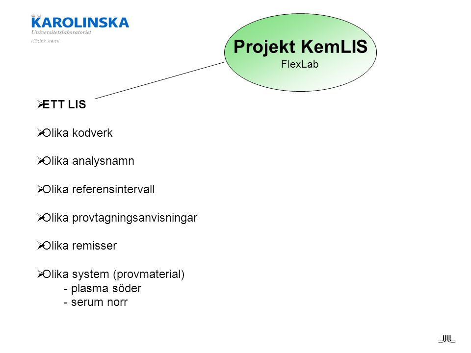 Projekt KemLIS ETT LIS Olika kodverk Olika analysnamn