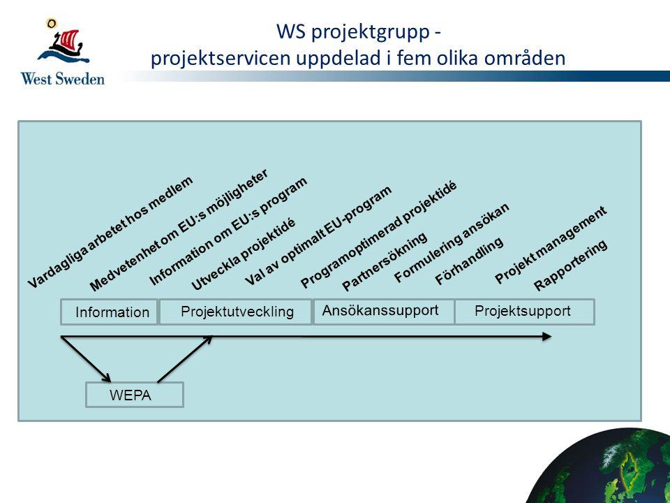 projektservicen uppdelad i fem olika områden
