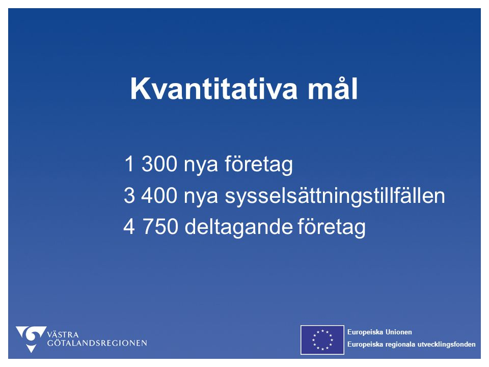 Kvantitativa mål 1 300 nya företag 3 400 nya sysselsättningstillfällen
