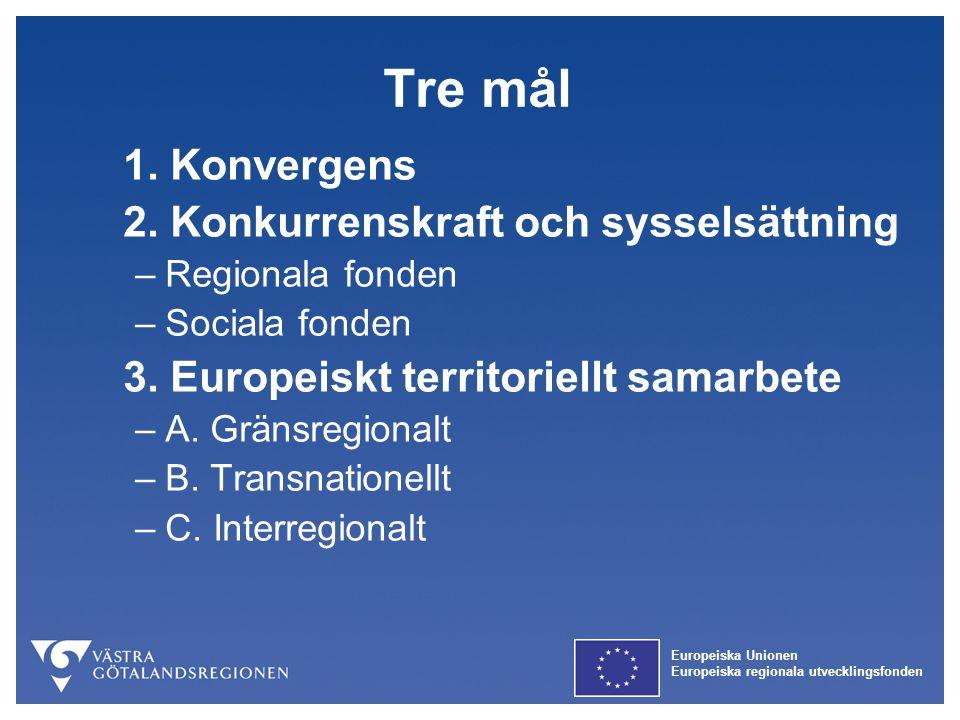 Tre mål 1. Konvergens 2. Konkurrenskraft och sysselsättning