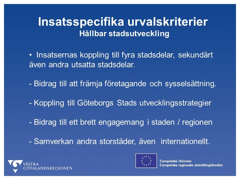 Insatsspecifika urvalskriterier Hållbar stadsutveckling