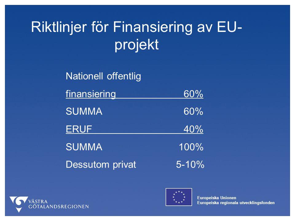 Riktlinjer för Finansiering av EU-projekt