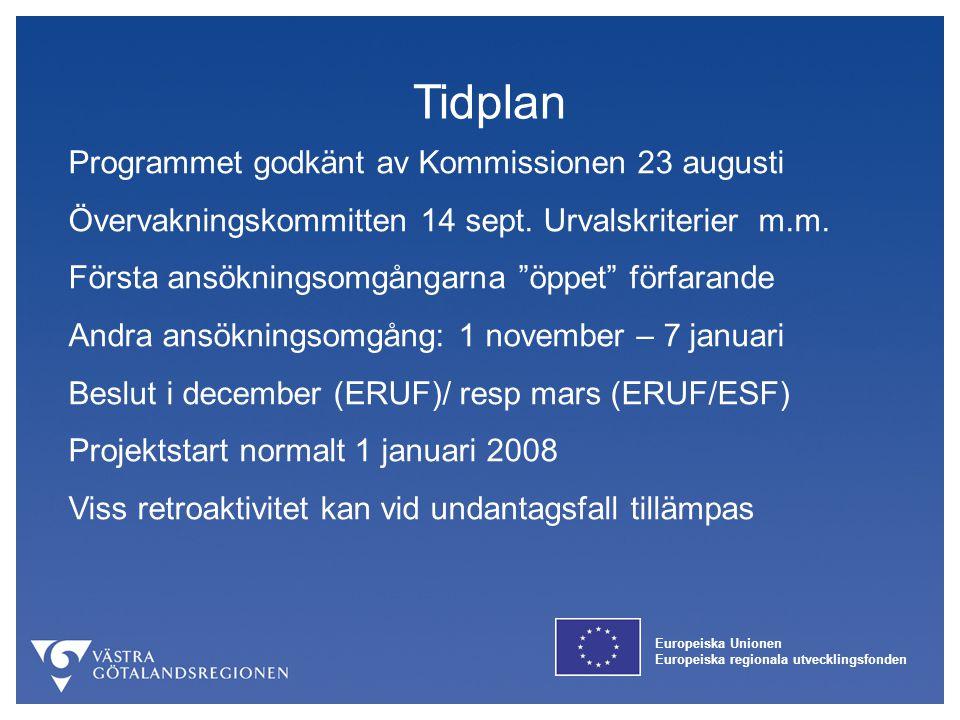 Tidplan Programmet godkänt av Kommissionen 23 augusti