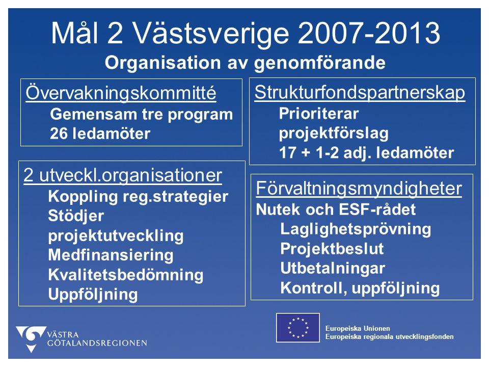 Mål 2 Västsverige 2007-2013 Organisation av genomförande