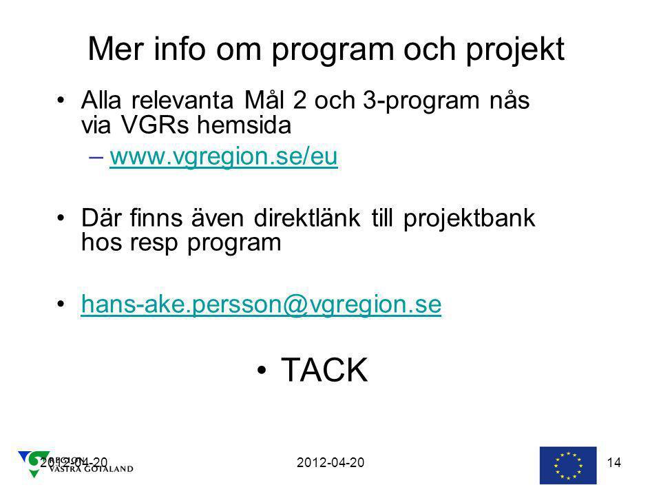Mer info om program och projekt