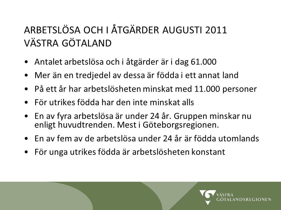 ARBETSLÖSA OCH I ÅTGÄRDER AUGUSTI 2011 VÄSTRA GÖTALAND