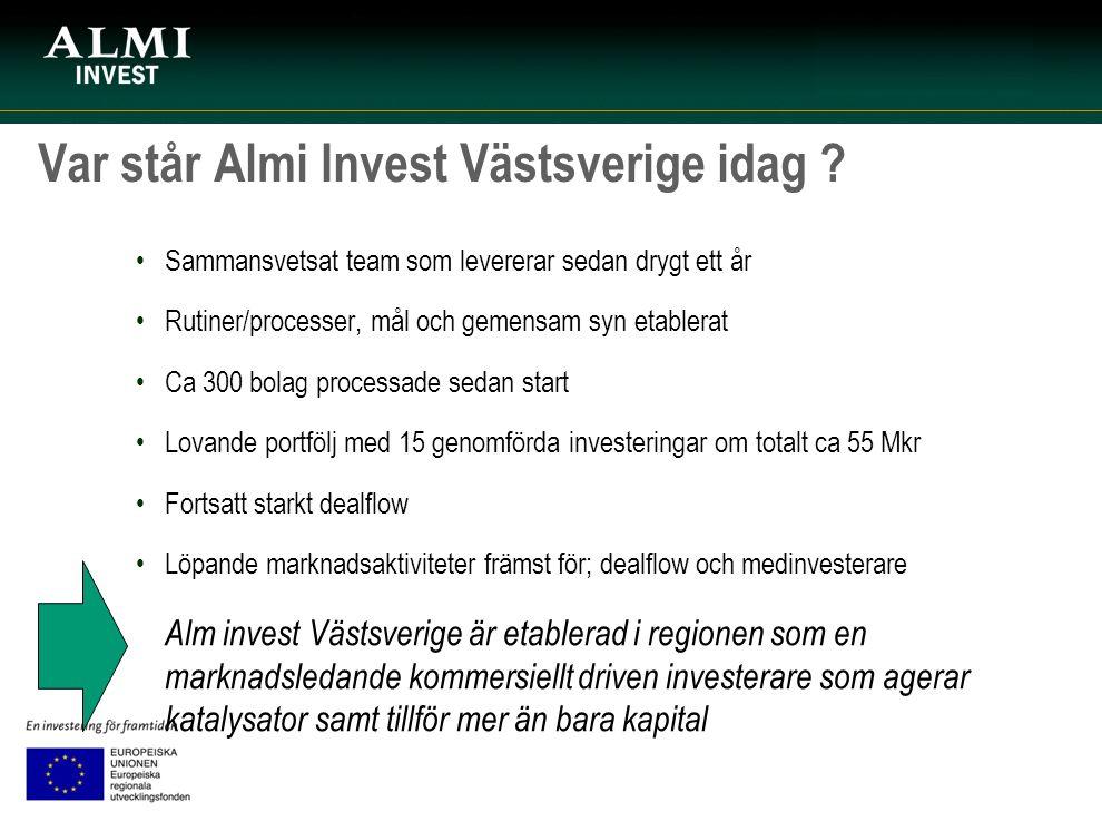 Var står Almi Invest Västsverige idag