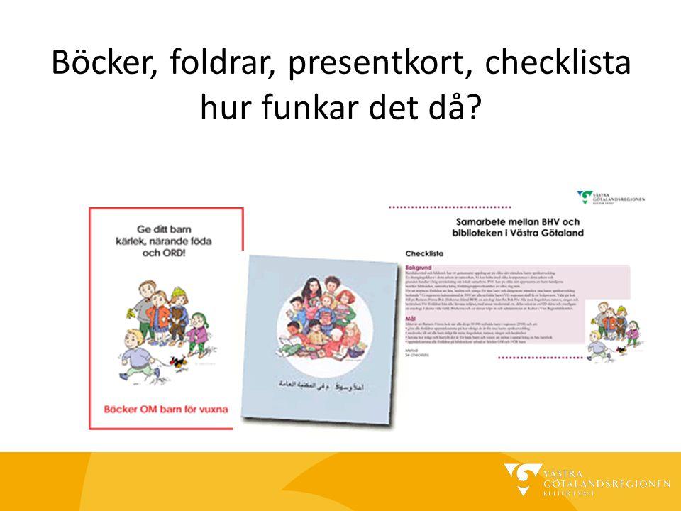 Böcker, foldrar, presentkort, checklista hur funkar det då