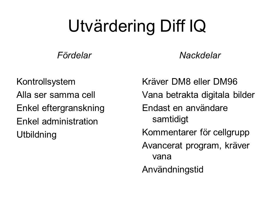 Utvärdering Diff IQ Fördelar Kontrollsystem Alla ser samma cell