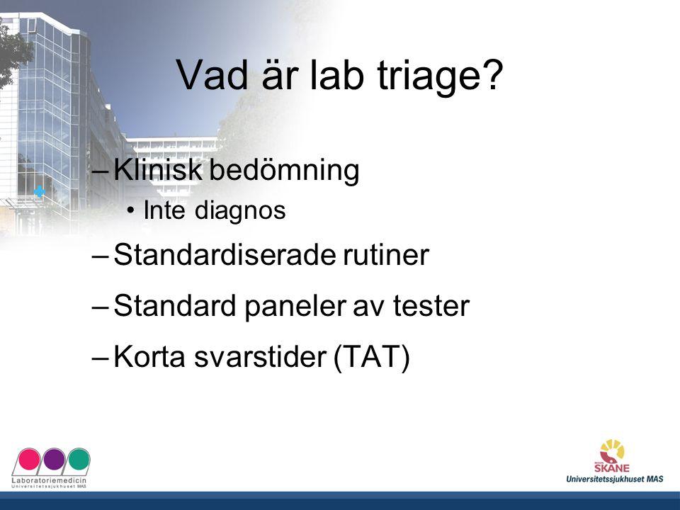 Vad är lab triage Klinisk bedömning Standardiserade rutiner