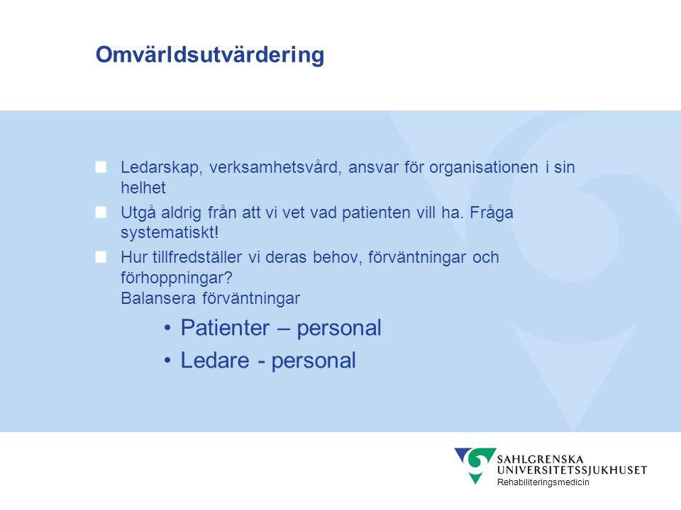 Omvärldsutvärdering Patienter – personal Ledare - personal