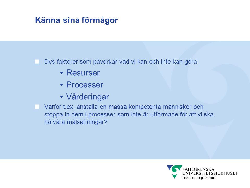 Känna sina förmågor Resurser Processer Värderingar