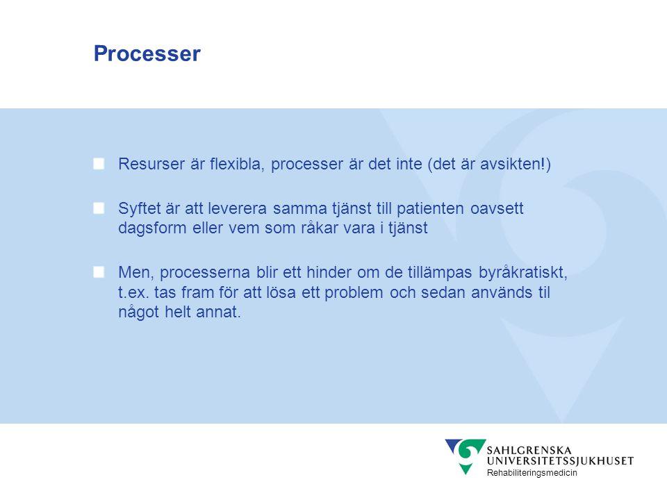Processer Resurser är flexibla, processer är det inte (det är avsikten!)