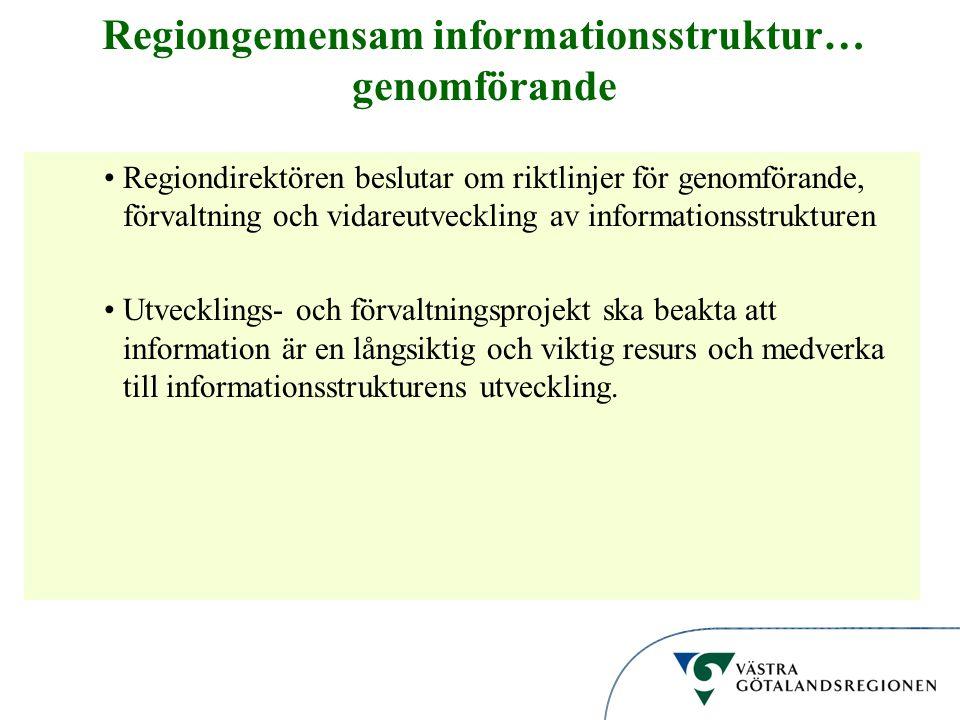 Regiongemensam informationsstruktur… genomförande