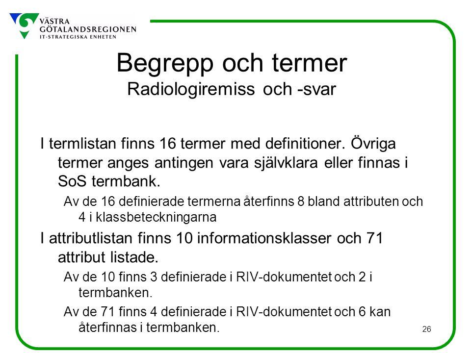 Begrepp och termer Radiologiremiss och -svar
