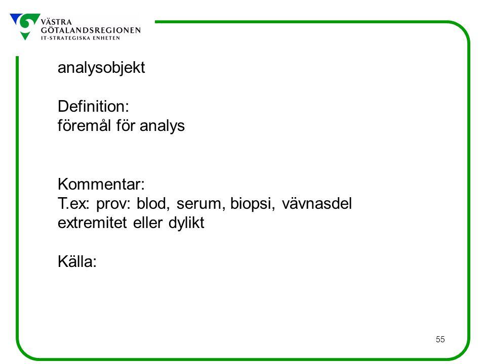 analysobjekt Definition: föremål för analys. Kommentar: T.ex: prov: blod, serum, biopsi, vävnasdel.