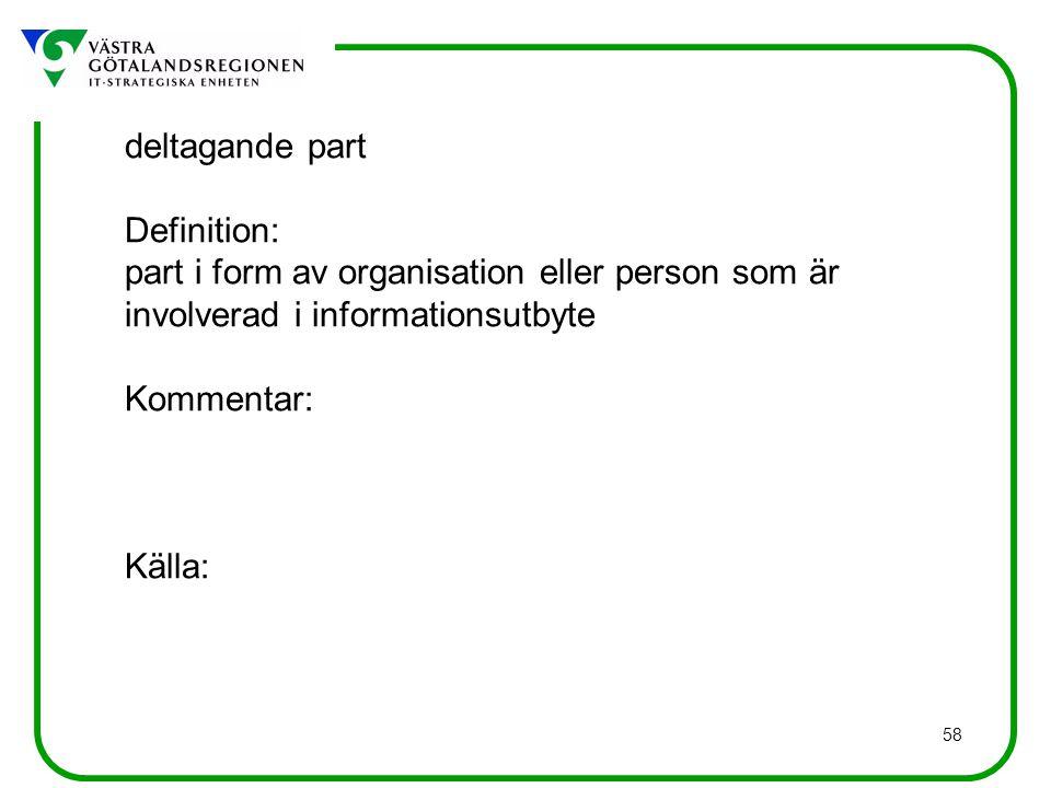 deltagande part Definition: part i form av organisation eller person som är involverad i informationsutbyte.