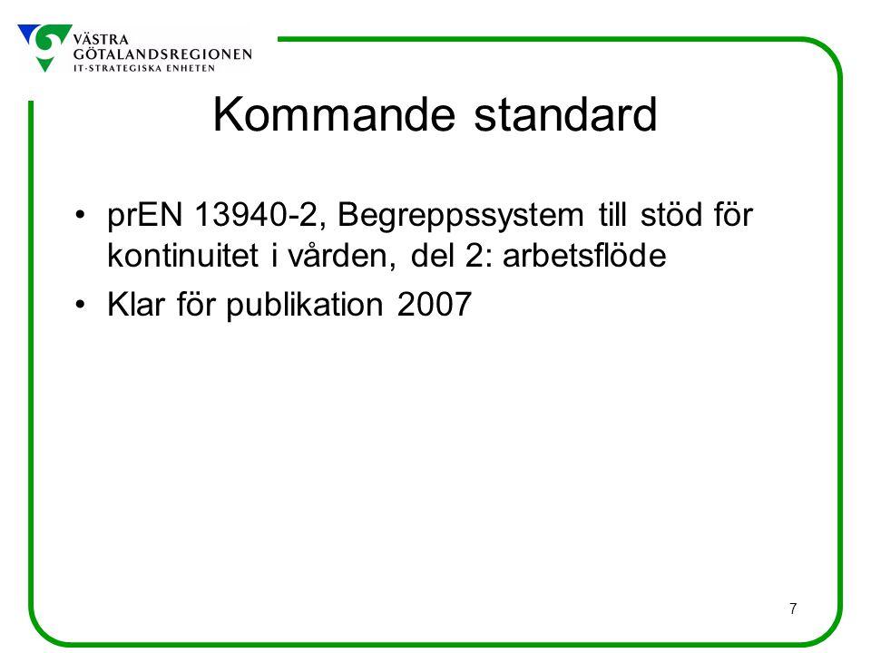 Kommande standard prEN 13940-2, Begreppssystem till stöd för kontinuitet i vården, del 2: arbetsflöde.