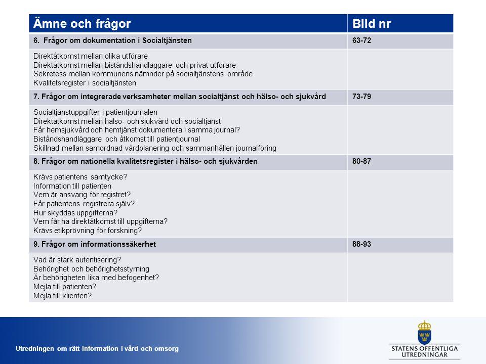 Ämne och frågor Bild nr 6. Frågor om dokumentation i Socialtjänsten
