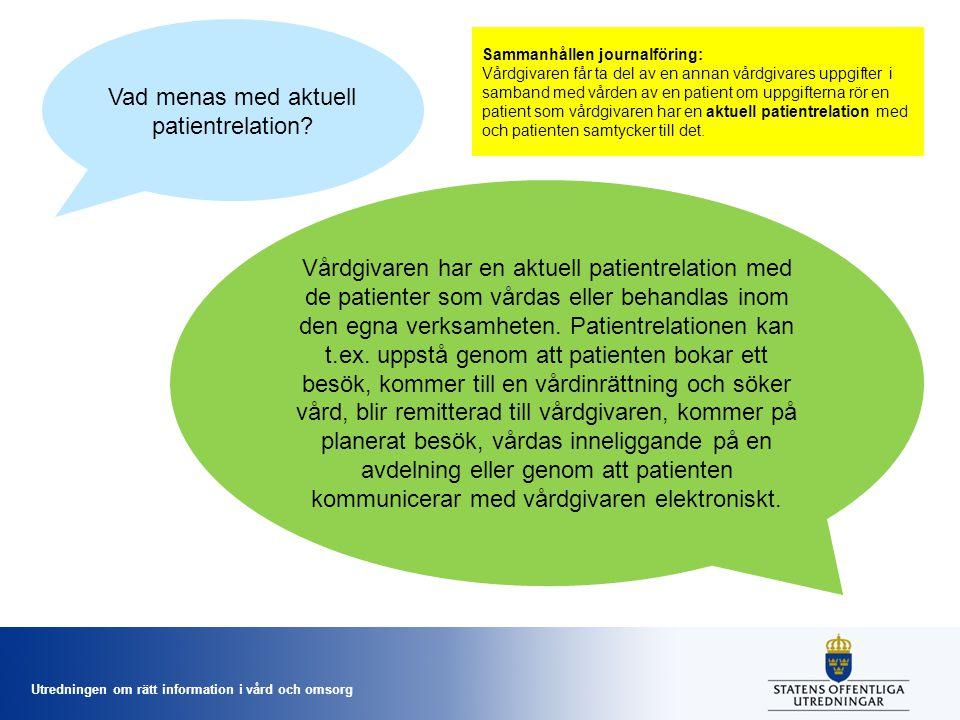 Vad menas med aktuell patientrelation