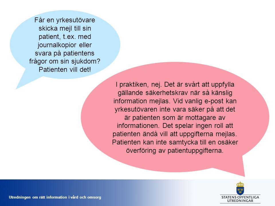 Får en yrkesutövare skicka mejl till sin patient, t. ex