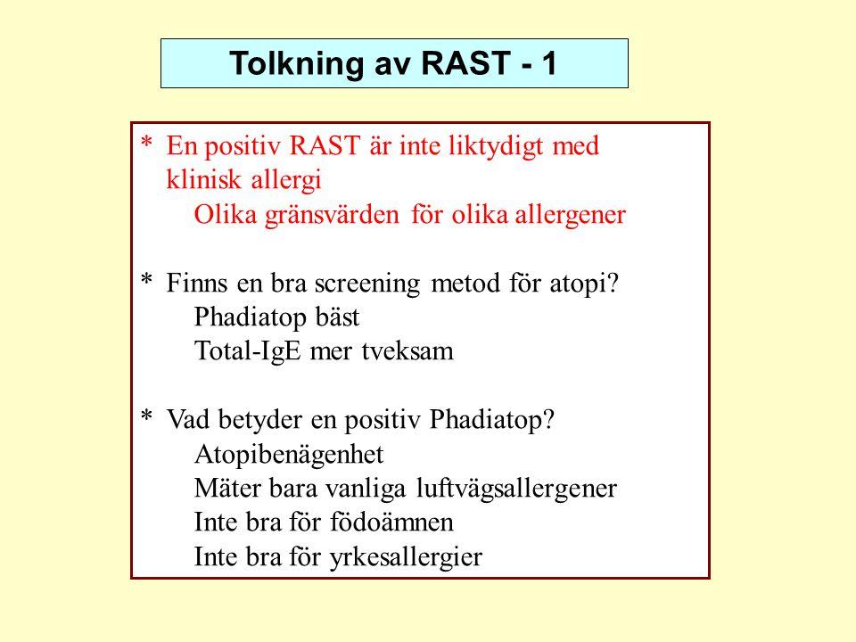 Tolkning av RAST - 1 * En positiv RAST är inte liktydigt med