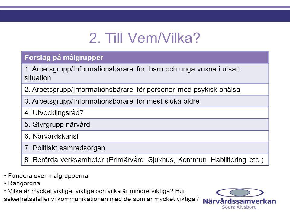 2. Till Vem/Vilka Förslag på målgrupper