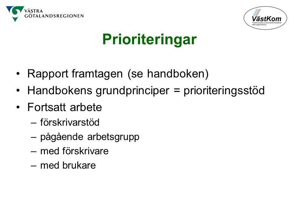 Prioriteringar Rapport framtagen (se handboken)