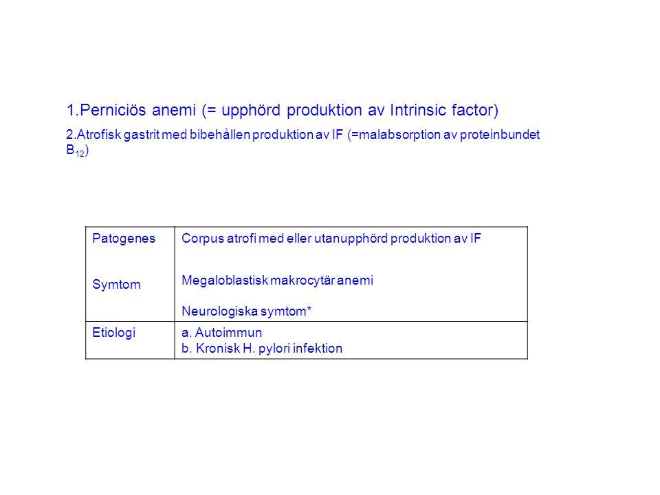 Perniciös anemi (= upphörd produktion av Intrinsic factor)