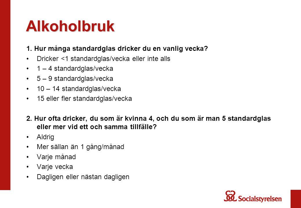 Alkoholbruk 1. Hur många standardglas dricker du en vanlig vecka