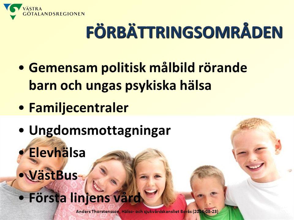 FÖRBÄTTRINGSOMRÅDEN Gemensam politisk målbild rörande barn och ungas psykiska hälsa. Familjecentraler.