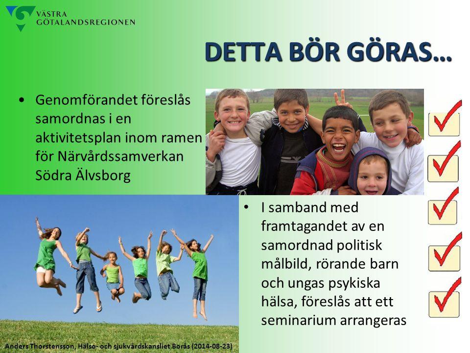 DETTA BÖR GÖRAS… Genomförandet föreslås samordnas i en aktivitetsplan inom ramen för Närvårdssamverkan Södra Älvsborg.