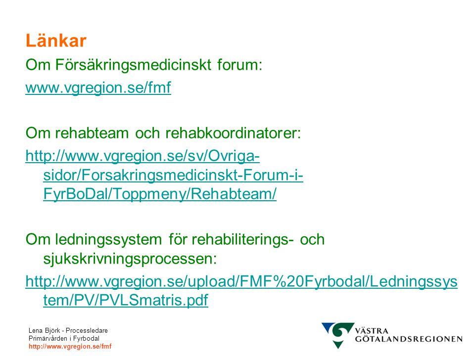 Länkar Om Försäkringsmedicinskt forum: www.vgregion.se/fmf