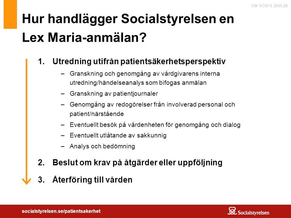 Hur handlägger Socialstyrelsen en Lex Maria-anmälan