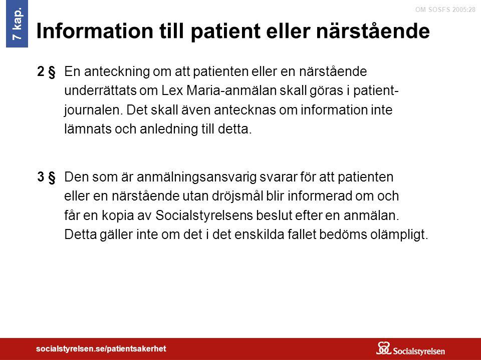 Information till patient eller närstående